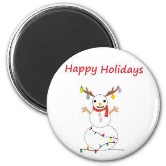 Happy Holiday Snowman 6 Cm Round Magnet