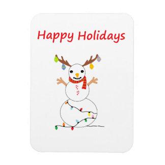 Happy Holiday Snowman Rectangular Photo Magnet