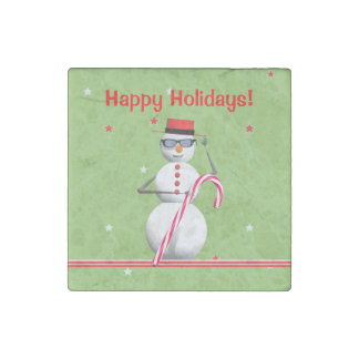 Happy Holiday Snowman Stone Magnet