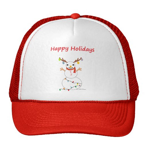Happy Holiday Snowman Mesh Hat