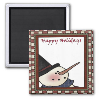Happy Holiday Snowman Square Magnet
