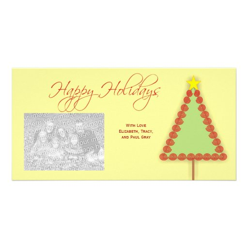 Happy Holiday Spiral Tree Photo Cards