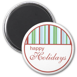 Happy Holiday Striped Christmas Magnet