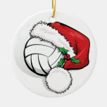 Happy Holiday Volleyball Christmas Round Ceramic Decoration