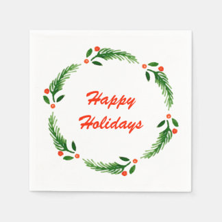 Happy Holiday Wreath Napkin Paper Serviettes