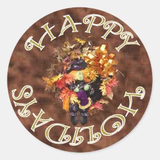 Happy Holiday Wreath Sticker. Round Sticker