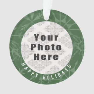 Happy Holidays 1 Photo Green Snowflake / Text Ornament