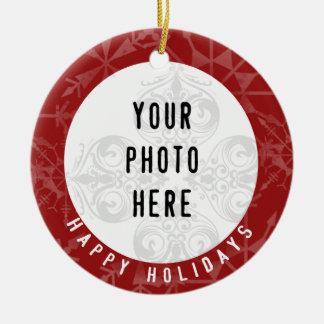 Happy Holidays 2 Photo Red Snowflake Round Ceramic Decoration