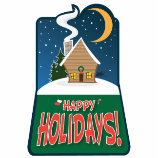 Happy Holidays-2x3 White Christmas Sculpture Photo Cut Out