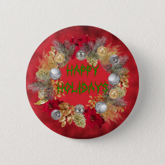 HAPPY HOLIDAYS 6 CM ROUND BADGE