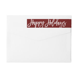 Happy Holidays Address Label, wraparound Wraparound Return Address Label