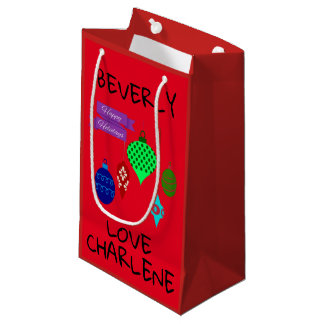 Happy Holidays and Hanging Ornaments Personalised Small Gift Bag