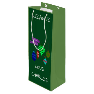 Happy Holidays and Hanging Ornaments Personalised Wine Gift Bag