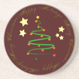 Happy Holidays and Merry Christmas Drink Coasters