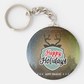 Happy Holidays Basic Round Button Key Ring