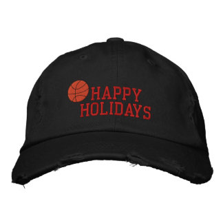 Happy Holidays Basketball Embroidered Hat