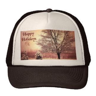 Happy Holidays beautiful winter landscape Trucker Hats