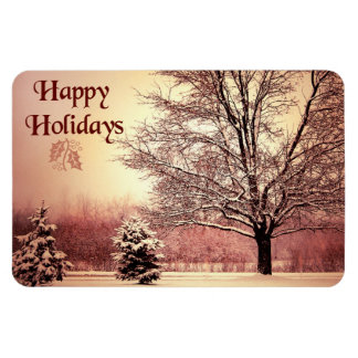 Happy Holidays beautiful winter landscape Vinyl Magnet
