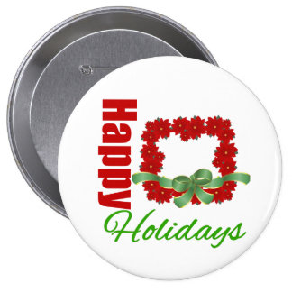 Happy Holidays Beautiful Wreath (Squared) Pin