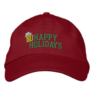 Happy Holidays Beer Embroidered Hat