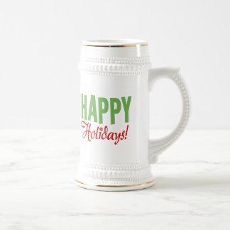 Happy Holidays Beer Steins