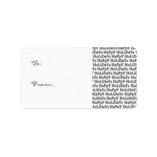Happy Holidays Black Christmas Gift Labels
