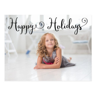 Happy Holidays Black Script - Post Card