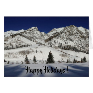 Happy Holidays! Blank with snowy mountain Card