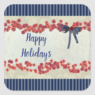 Happy Holidays Blue and Red Christmas Stickers
