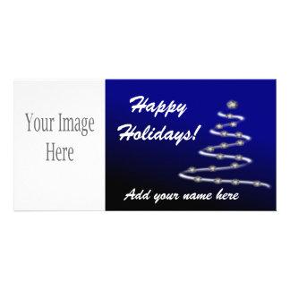 Happy Holidays Blue Christmas Tree Customized Photo Card
