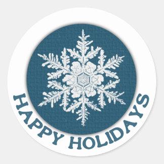 Happy Holidays Blue Paper Snowflake Round Sticker