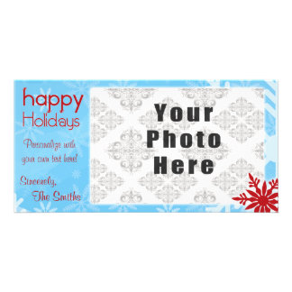 Happy Holidays Blue/Red Snowflake theme Custom Photo Card