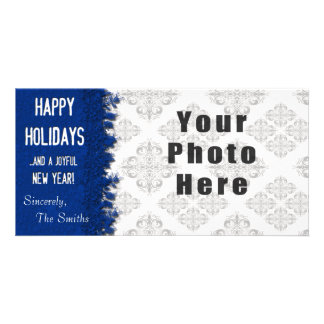 Happy Holidays Blue Snowflake Photo Card