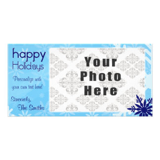 Happy Holidays Blue Themed Snowflake Personalised Photo Card