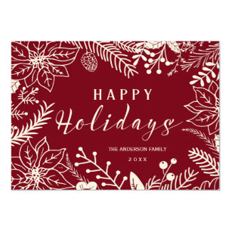 HAPPY HOLIDAYS BOTANICAL RED AND WHITE PHOTO CARD 13 CM X 18 CM INVITATION CARD