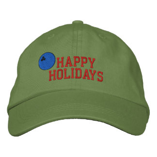 Happy Holidays Bowling Embroidered Hat
