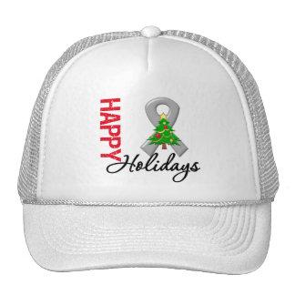 Happy Holidays Brain Cancer Awareness Mesh Hats