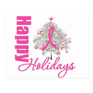 Happy Holidays Breast Cancer Pink Ribbon Postcard
