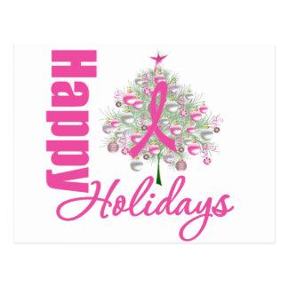 Happy Holidays Breast Cancer Pink Ribbon Postcard