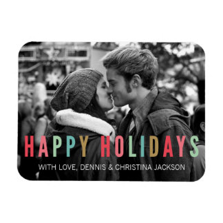 Happy Holidays | Bright & Modern Photo Magnet