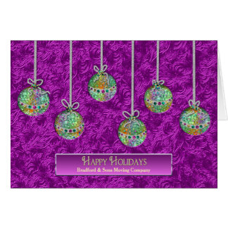 Happy Holidays - Business - Name - Decorated Balls Card
