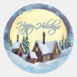 HAPPY HOLIDAYS by SHARON SHARPE Round Sticker