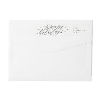 Happy Holidays Calligraphy Envelope Wrap Wrap Around Label