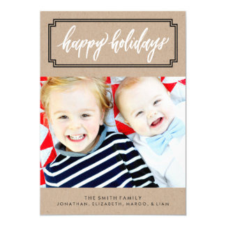 Happy Holidays Calligraphy Kraft Photo Card