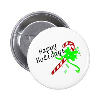 Happy Holidays Candy Cane Button