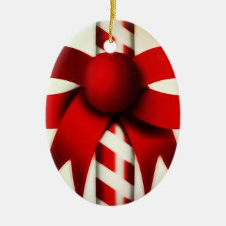 Happy Holidays Candy Cane Ceramic Oval Decoration