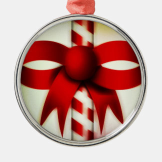 Happy Holidays Candy Cane Silver-Colored Round Decoration