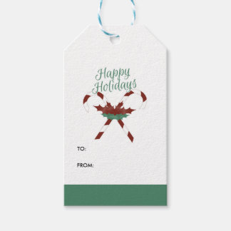 Happy Holidays Candy Cane Gift Tag label