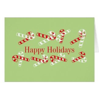 Happy Holidays Candy Cane Greeting Card