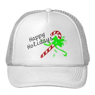 Happy Holidays Candy Cane Trucker Hats